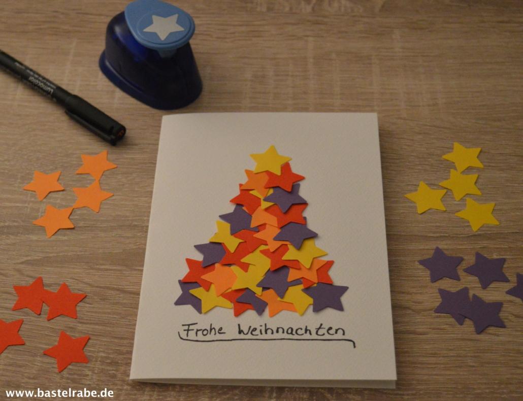 Weihnachtskarten Mit Sternen Basteln.Weihnachtskarte Basteln Mit Sternen Aus Tonpapier Zur